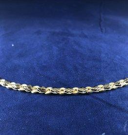 "Marquise shape Moda Gold Bracelet; 14KT Yellow Gold Medium Thickness, 7.5"""