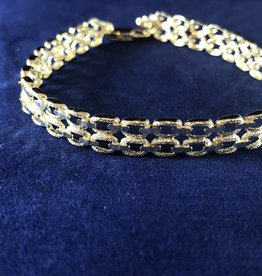 Double Row Marquise Shape Moda Gold Bracelet; 14KT Yellow Gold Medium Thickness; 7, 7.5, 8""