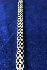 "Double Row Marquise Shape Moda Gold Bracelet; 14KT Yellow Gold Medium Thickness; 7, 7.5, 8"""