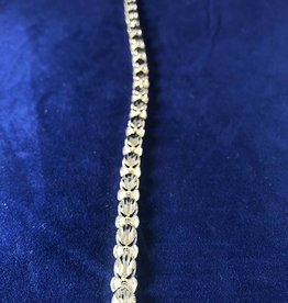 "Oval Shape Moda Gold Bracelet; 14KT White/Yellow Gold Medium Thickness, 8"""