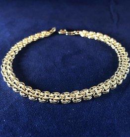 "Hook Shape Moda Gold Bracelet; 14KT White & Yellow Gold Medium Thickness; 7, 7.5, 8"""