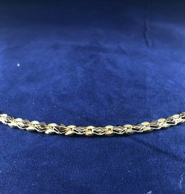 Marquise Shape Moda Gold Bracelet; 14KT Yellow Gold Medium Thickness, 8""
