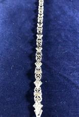 "Diamond Hook Shape Moda Gold Bracelet; 14KT Yellow & White Gold Medium Thickness; 7, 7.5, 8"""