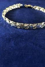 "Marquise Shape Moda Gold Bracelet; 14KT Yellow/White Gold Medium Thickness, 7.5"""