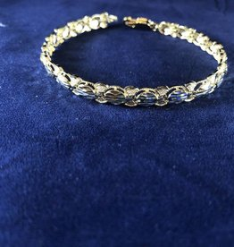 Oval Shape Moda Gold Bracelet; 14KT White/Yellow Gold Medium Thickness, 7""