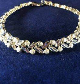 "Leaf Shape Moda Gold Bracelet; 14KT White/Yellow Gold Medium Thickness, 7"""