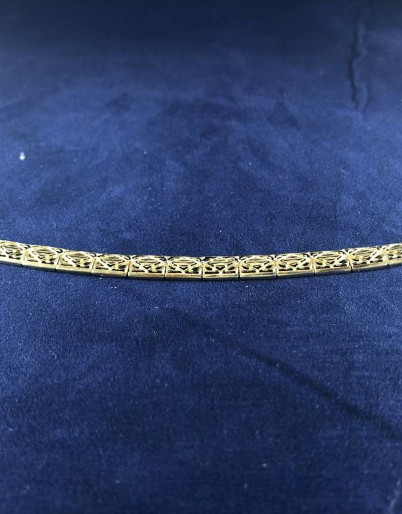 "Rectangle Shape Moda Gold Bracelet; 14KT White/Yellow Gold Medium Thickness, 7"""