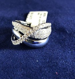 1.00 CTW Criss Cross Diamond Cocktail Ring; 14KT White Gold