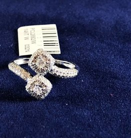 0.50 2 stone Cocktail Diamond Ring; 14KT White Gold