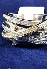0.50 CTW Criss Cross Diamond Cocktail Ring; 14KT 2 Tone White/Yellow Gold