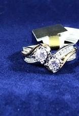 0.50 2 stone Round cut Cocktail Diamond Ring; 14KT 2Tone White/Yellow Gold