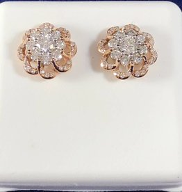 1.00 CTW Round Flower Cluster Diamond Stud Earrings; 14KT White/2 Tone Rose/White Gold