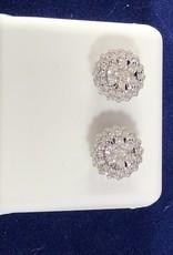 1.00 CTW Round Flower Cluster Diamond Stud Earrings; 14KT White/2 Tone Rose/White Gold