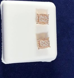 0.50 Cluster Diamond Studs; Princess Shape; 14KT Rose Gold