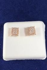 0.50 Cluster Diamond Studs; Princess Shape; 14KT Rose Gold