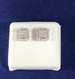 1.00 CTW Cluster Diamond Studs; Princess Shape; 14KT White Gold