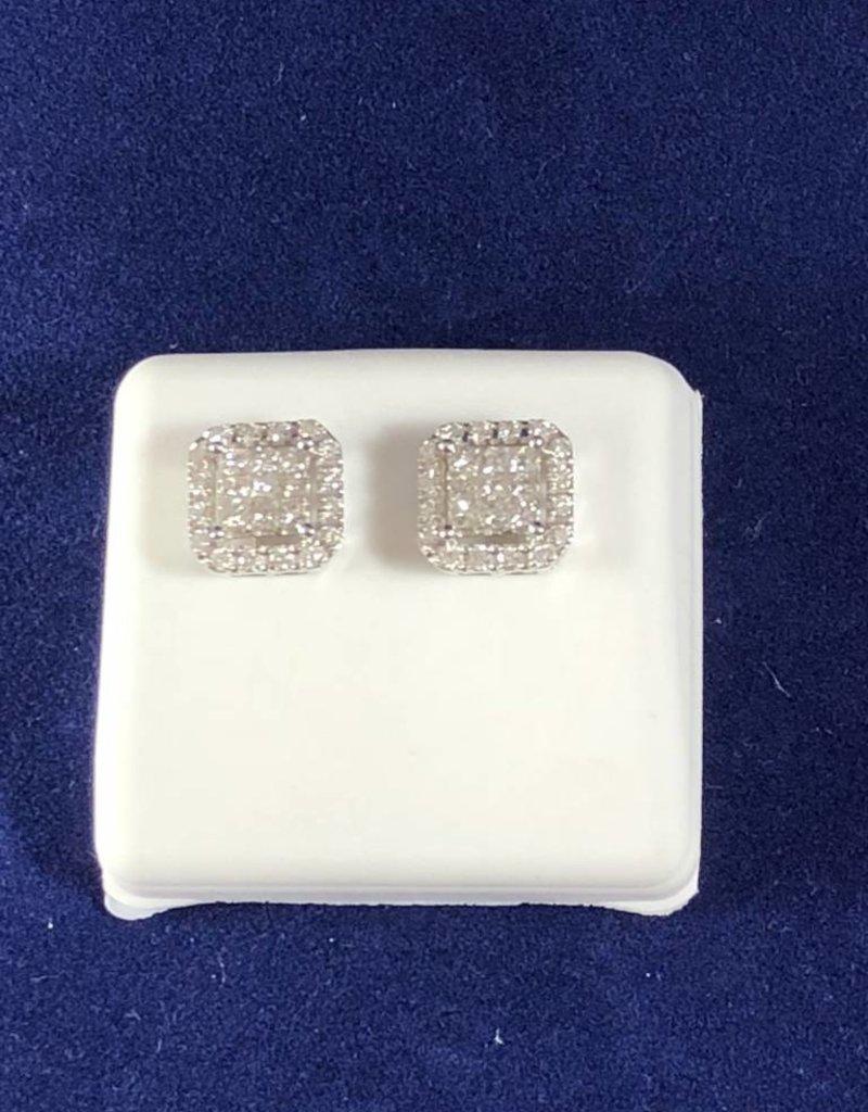 1.00 CTW Cluster Diamond Studs; Princess Shape; 14KT White Gold