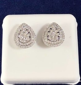 1.00 CTW Cluster Diamond Studs; Pear Shape; 14KT White Gold