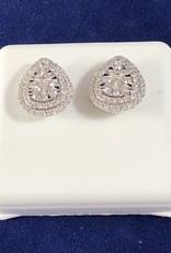 1.00 CTW Cluster Diamond Studs; Pear Shape; 14KT White Gold