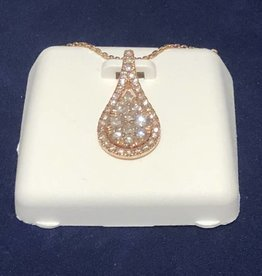0.75 CTW Pear Shape Halo with Round Cut Diamond, 14KT Rose Gold Pendant