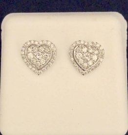0.45CT Round Cut Diamond Heart Shape Studs; 14KT White Gold