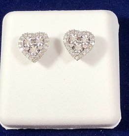 0.34CT Round Cut Diamond Heart Shape Studs; 14KT White Gold