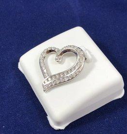 1.00 CTW Diamond Heart Pendant; 14KT White Gold