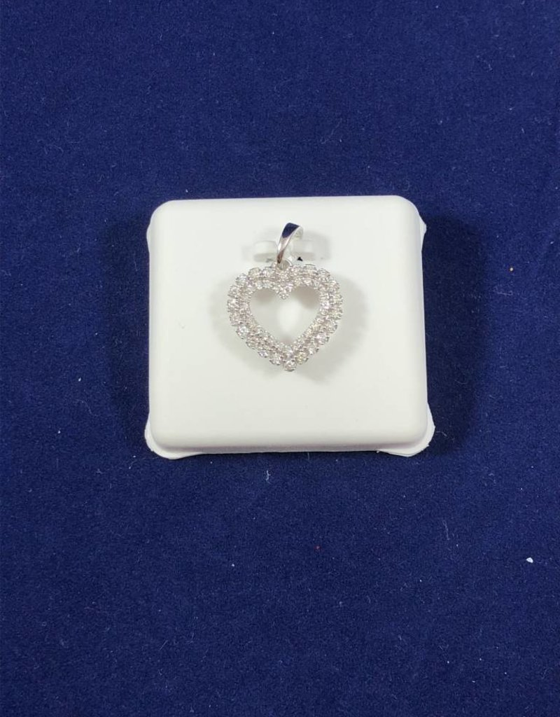 0.38CTW Diamond Heart Pendant; 14KT White and Yellow Gold