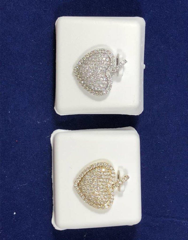 1.33CTW Diamond Heart Pendant; 14KT White and Yellow Gold