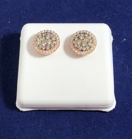 1.00 CTW Round Cluster Diamond Stud Earrings; 14KT White/2 Tone Rose/White Gold