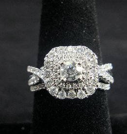 1-1/5 Princess Diamond with Round Double Halo Diamonds, 14KT White Gold, Engagement Ring with Band
