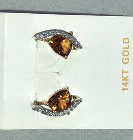 14KT White Gold Citrine Earrings