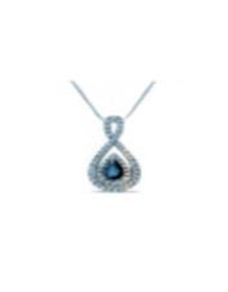 Diamond and Sapphire Pendant 0.05 ctw 14KT White Gold