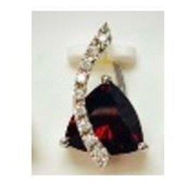 Diamond and Garnet Pendant 14KT White Gold
