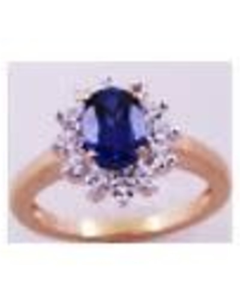 Diamond and Sapphire Ring 0.79 ctw 14KT Yellow Gold