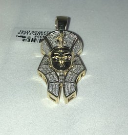 Round Cut Pave Diamonds, King Tut Large Man's Pendant; 0.43ctw; 10KT Yellow Gold