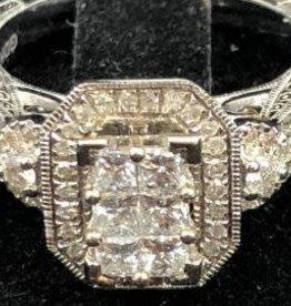 14Kt. White Gold 1.17ctw Trillion And Round Cut Diamonds Rectangular Shape Halo Style Lady's Engagement Ring