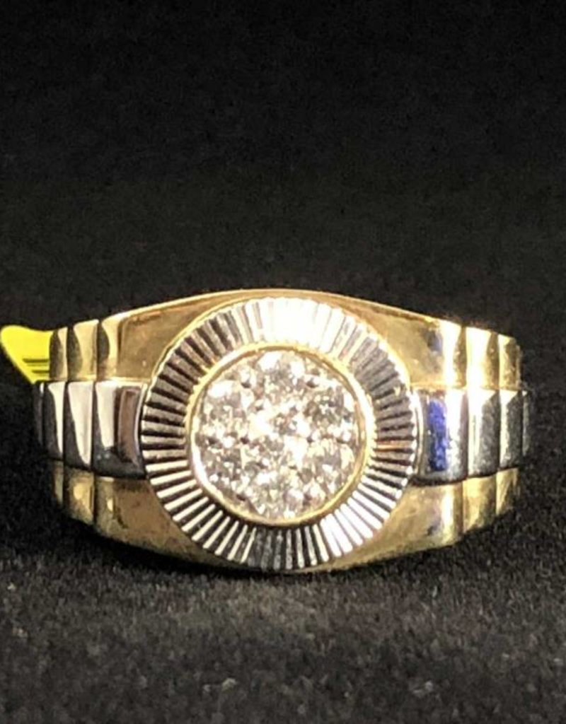 14Kt. White Gold 0.48ctw Round Cut Diamonds, Rolex Style, Man's Ring