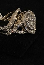 14Kt. White Gold 1.93ctw Round Cut diamonds, Pear Shape, Infinity, Halo Style, Lady's Wedding Set