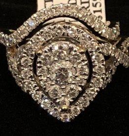 Diamonds, Pear Shape, Infinity, Halo Style, Lady's Wedding Set, 1.93ctw Round Cut 14Kt. White Gold