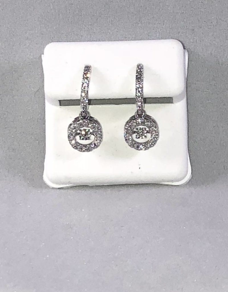 Dancing Diamonds, 0.62 ctw Round cut, French Back Halo Style, Lady's Dangling Earrings