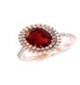 Diamond and Ruby 0.80ctw Oval Shape and Round Cut Ring