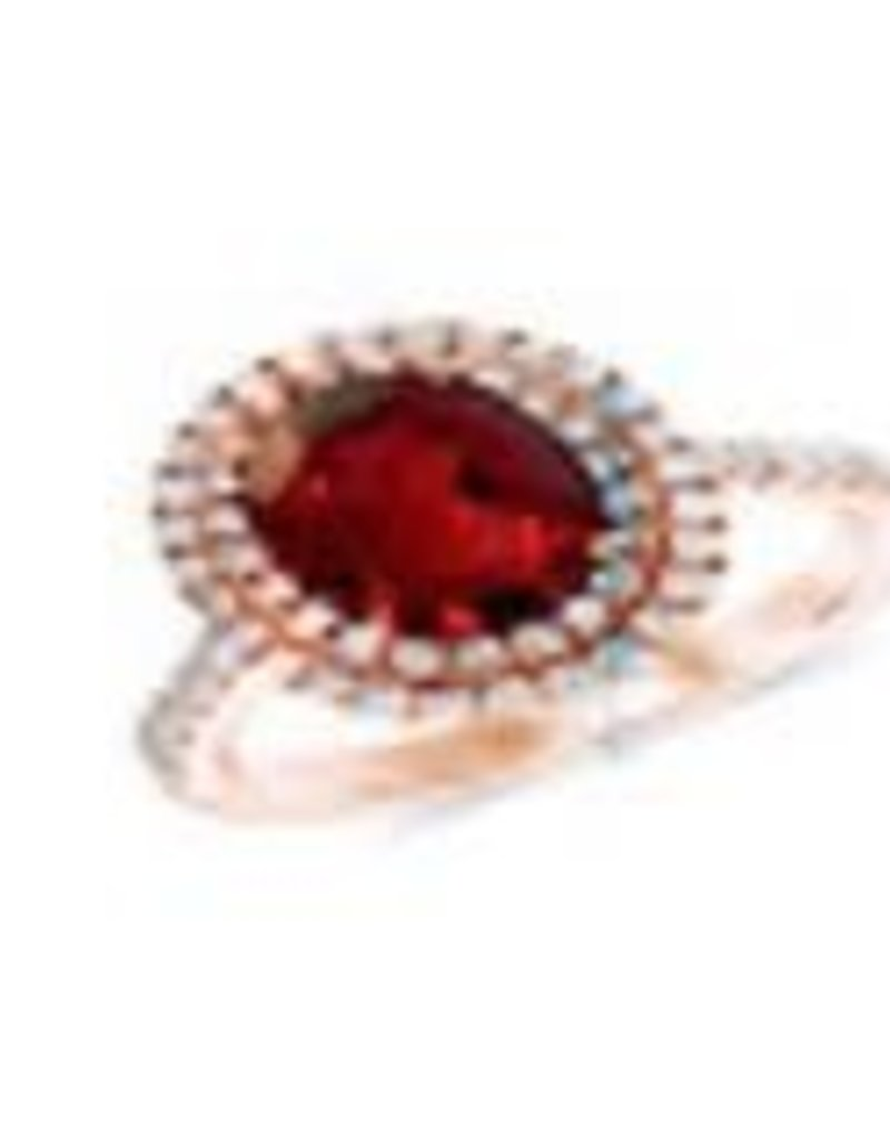 10Kt. White Gold 0.80ctw Oval Shape Ruby And Round Cut Diamonds  Halo Style Lady's Ring