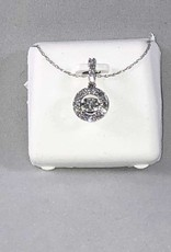 0.40ctw Round Cut diamonds Dancing, Halo Style Lady's Pendant; 14Kt. White Gold