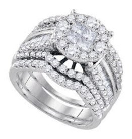 14Kt. White Gold 2.00ctw Princess, And Round Cut Diamonds, Wrap Style, Invisible, Lady's Wedding Set
