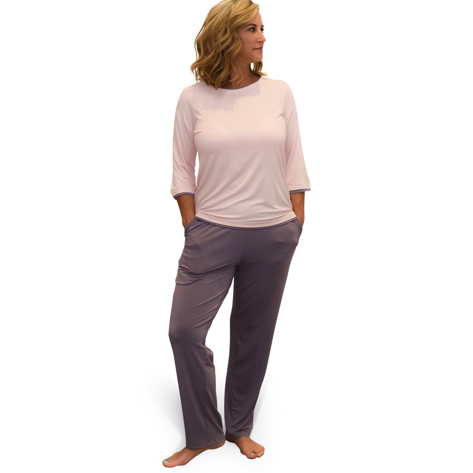 BambooYou BambooYou Heavenly Pink & Gray Pajama Set