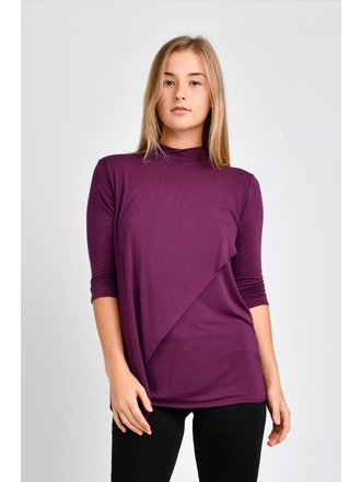 0669e1b9d0d TEN TOMORROW Gwen High Neck Top (Amaranthine)