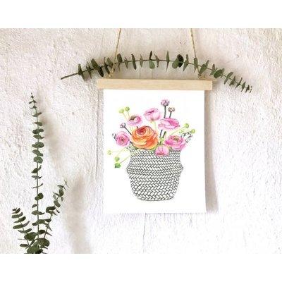 katrinnillustration Affiche - Panier de fleurs
