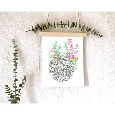 katrinnillustration Affiche - Sac panier de fleurs