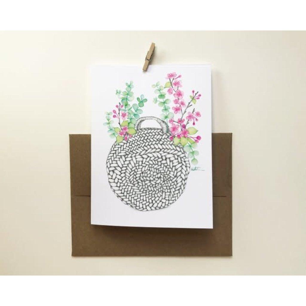 katrinnillustration Carte - Sac panier de fleurs